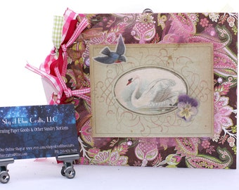 Chipboard Album  Shimmering Swan in Brown Pink and Green