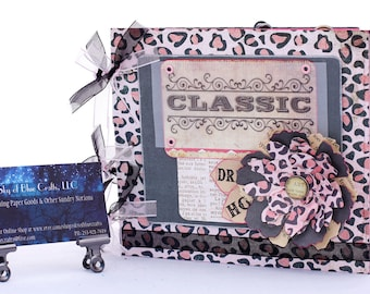 Chipboard Album Classic Pink Cheetah Print with Handmade Flower