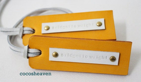 Custom Leather Luggage Tag  - Yellow Double Sided (Set of 2) - For Her - Perfect Gift for Birthday, Wedding, or Anniversary