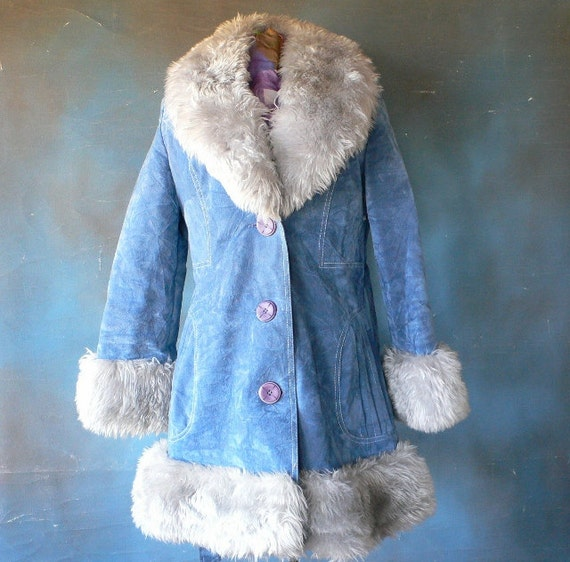 1970's mini coat faux suede and fake fur belted and lined from Diz Has Neat stuff