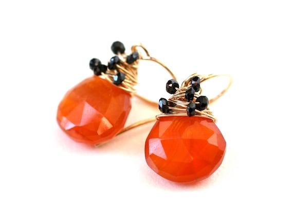 Clearance Sale Earrings Halloween Orange Carnelian and Black Spinel 14k Gold Filled - Halloween Fashion, Fall, Tangerine Tango