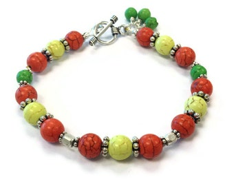 Turquoise Multicolor Bracelet Yellow Orange Green Gemstone Jewellery Sterling Silver Jewelry Bright Colors Summer Fashion Neon B-289