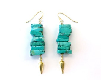 Turquoise Earrings - Spike Jewelry - Gold Vermeil - Hipster - Modern - Point - Arrow - Natural Gemstone Jewellery