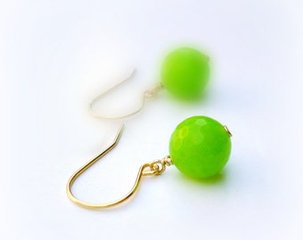Lime Green Earrings Gold Jewelry Neon Green Fluorescent Bright Agate Gemstone Jewellery Spring Fashion Vibrant