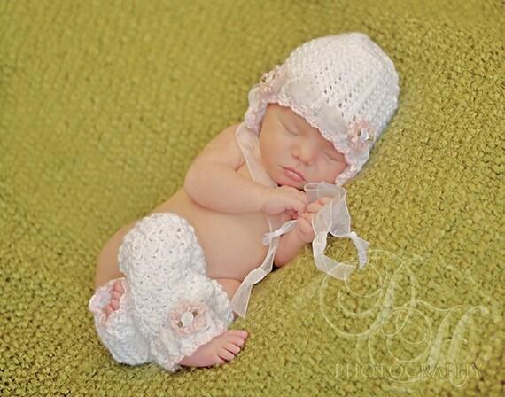 Crochet Baby Hat And Leg Warmers Newborn Bonnet Newborn