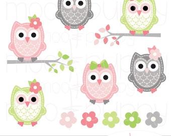 Owl Clip Art - Leona Pink&Lime -- INSTANT DOWNLOAD
