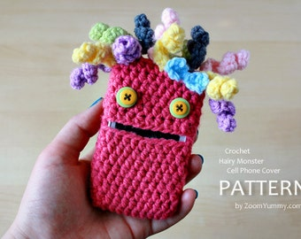 Crochet Pattern - Hairy Monster Cell Phone Cover (Pattern No. 029) - INSTANT DIGITAL DOWNLOAD