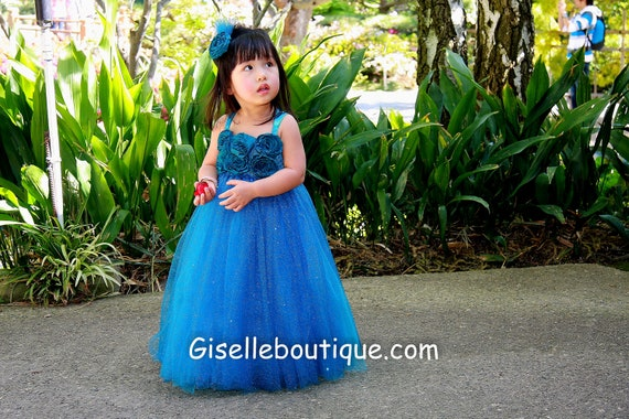 Reserved listing for Dani: Sparkling Teal Glittered Tutu Dress in size 5t