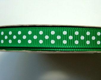 "3/8"" Dotted Grosgrain Ribbon - Emerald (2) - 25 Yard Spool"