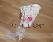 PDF knit pattern for Butterfly Bonnet.  Newborn size. Photography prop baby.
