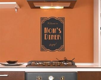 Mom's Diner wall decal kitchen sticker