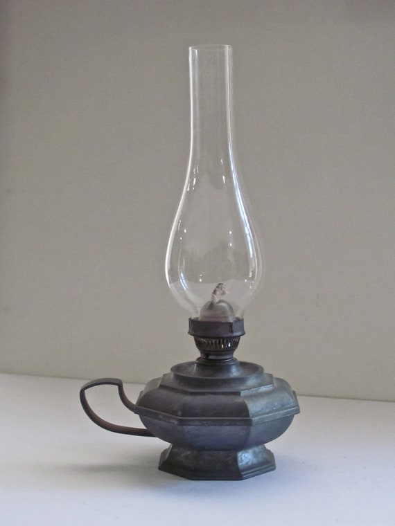 vintage oil lamp with glass chimney by bluemooncollection. Black Bedroom Furniture Sets. Home Design Ideas