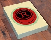 Letter Typography Print on Wood Block Frame Customize