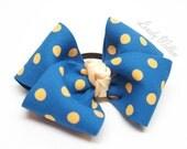 Lovely polka dot ponytail holder, mustard and blue (set of 1)