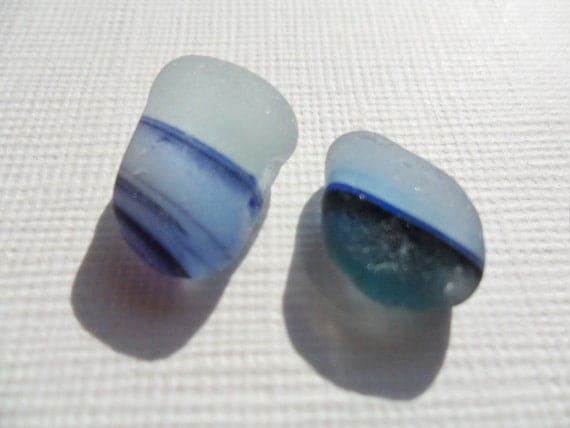 Purple and blue multi sea glass pieces - beautiful English beach finds