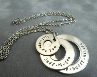 3 washer necklace, mothers necklace, hand stamped stainless steel