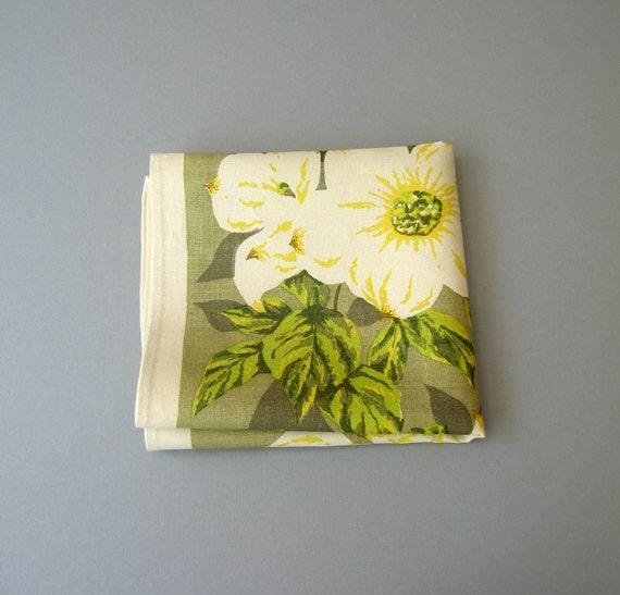 Vintage Linen Tea Towel - Unused - British Columbia Dogwood