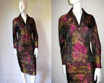 Gorgeous Vintage 1980s Christian Lacroix Floral Jacquard Sateen Skirt Suit
