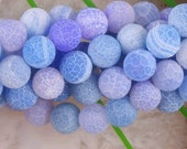 Blue Frosted 10mm Agate Beads- 1/2 strands