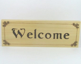 Welcome Sign - Wood Pyrography - Wall Art