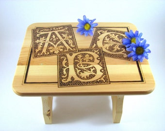 READY-to-SHIP SALE. Wood Stool. Bathroom Step. Children's Stool. Wood Pyrography. Decorative Stool. Unique Gift. Medieval Initials. Alphabet