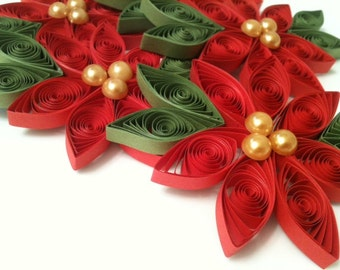 Cayenne Red Wedding Favor Poinsettia Flower Paper Quilled in Bright Holiday Red - Pearl Centers