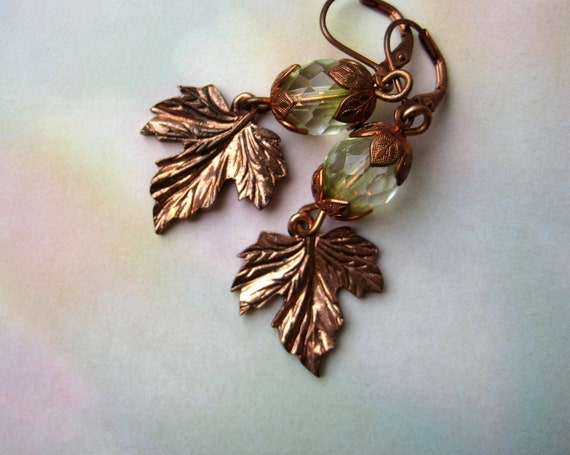 Maple leaf earrings with copper findings and light green crystal