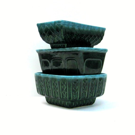 Vintage Ceramic Planters - Emerald Green and Turquoise Trio