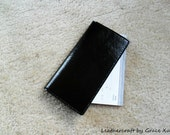100% hand stitched handmade black patent cowhide leather checkbook cover