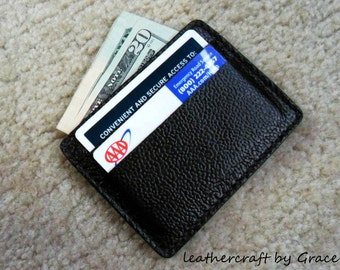 100% hand stitched handmade super dark brown cowhide leather ID card / cash pouch / case