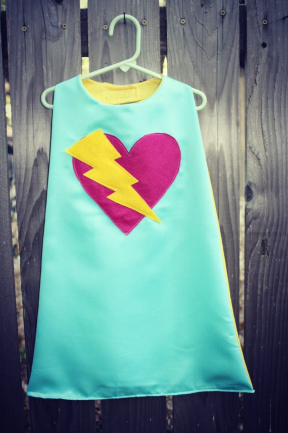 Super Hero Cape Girls Hot Pink Heart with Lightning Bolt in Turquoise Fully Lined