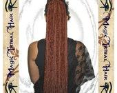 STEAMPUNK caramel DREAD FALLS 112 single dreads 24''/ 60 cm long yarn hair fall Reenactment Fantasy dieselpunk pirate accessory Larp wig