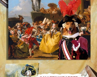 Rough Collie Art Print The Royal Dance collie dogs in clothes canvas art rough collie gift Grand Duke rough collie custom dog portrait