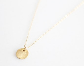 Gold Disc Necklace - Small