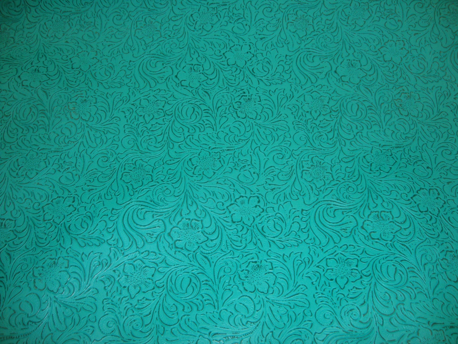 Turquoise Laredo Embossed Floral Faux Leather Vinyl Upholstery
