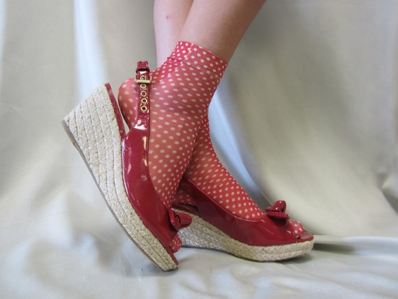 SALE  Socks for heels red polka dot  summer shoes lightweight knit great for heels flats womens socks by Catherine Cole Studio peep socks