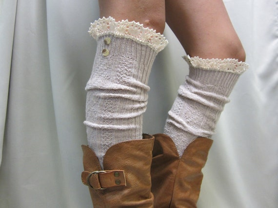 Swiss  LACE BOOT SOCKS Tan / European styling for  tall boots -  over knee cable knit  womens Catherine Cole Studio / made in usa