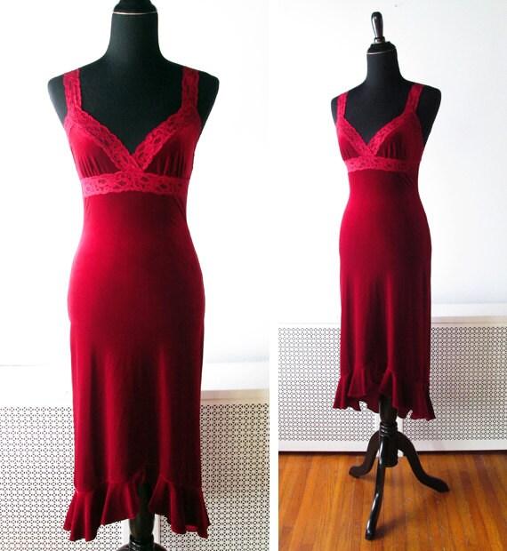 Vintage Red Velvet Slip Dress by Betsey Johnson
