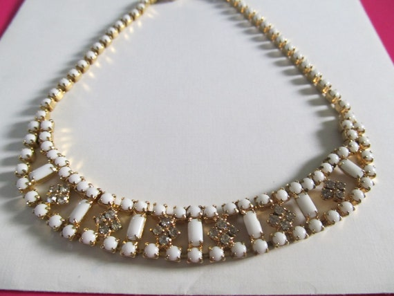 Reserved for Lindzey Vintage Milk Glass and Rhinestone Choker
