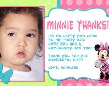 Minnie Mouse Bowtique Thank You Card Photo Option Customizable Printable