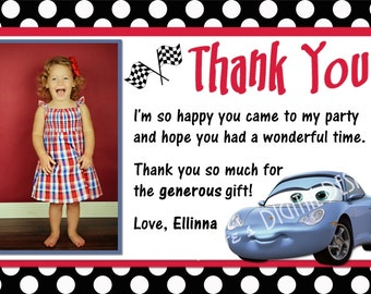 Cars Sally Thank You Card Photo and Background Option Customizable Printable