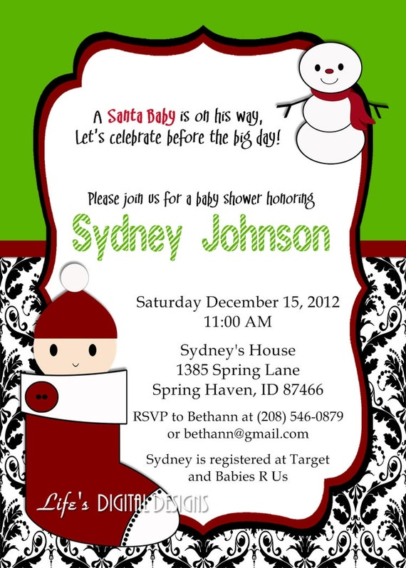 Items Similar To Christmas Baby Shower Invitations Santa Baby Red Green  With Damask Customizable Printable On Etsy