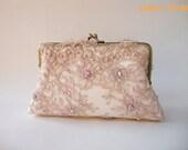 Elegant wedding clutch, Lace Silk Clutch in Dusty Pink, Vintage inspired , wedding bag, bridesmaid clutch, Bridal clutch