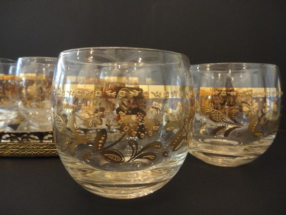 Vintage Culver Glassware, Set of 8, Gold flowers