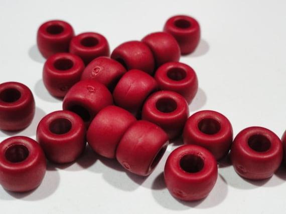 Brick Red Pony Beads, Large Hole, Acrylic, 8x6mm, 20 pcs