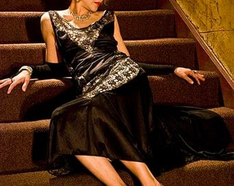 Sleek Black Lace Dress w Gloves / Red Carpet Eco Fashion The Oscar Dress / Slip Dress / Black Evening Gown / Art Deco Inspired