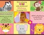 Custom Personalized Animal Safari Jungle Birthday Party Invitation With Photo - Digital Print