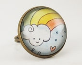 Kawaii Cloud and Rainbow Ring, Cute Adjustable Bronze Ring Art Jewelry .