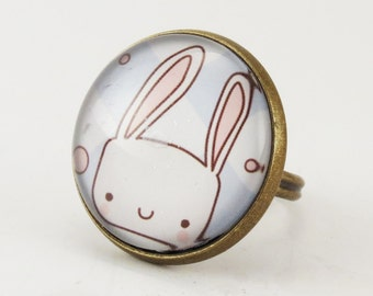Kawaii Bunny Rabbit Ring, Cute Adjustable Art Ring