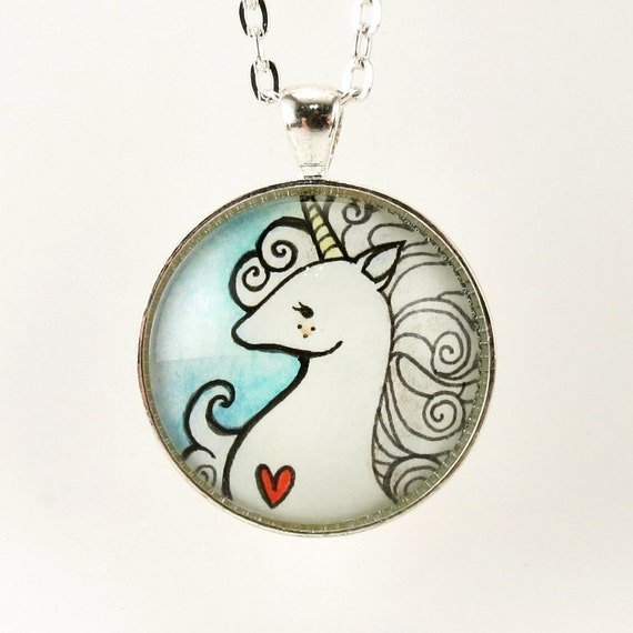Blue Unicorn Necklace, Hand Painted Art Pendant, Fantasy Jewelry